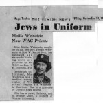 This is the beginning of the Detroit Jewish News tracking Mollie as she serves our country as a WAC, December 10, 1943.